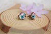 Wholesale Blue Bird Stud Earrings - Mori Blue Bird Earrings Animals Christmas Earrings Earrings 10mm Retro Jewelry