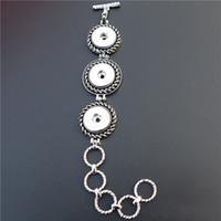 reloj pulsera de plata vintage al por mayor-3 Botones Vintage Plata Noosa Chunks Metal Ginger 18mm Botones a presión Pulsera Relojes Joyería Unisex Al Por Mayor