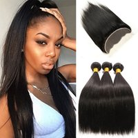 Wholesale Hand Tied Weave - Brazilian Straight Hair Bundles with1 Piece Hand Tied 13*4 Ear To Ear No Shedding Lace Frontal Closure Natural Color