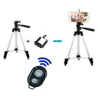 ferngesteuertes kamerastativ großhandel-Aluminiumlegierung Portable Phone Camera Stativ Einbeinstativ + Universal Smartphone Mount + Bluetooth Drahtlose Fernbedienung Kamera Shutter