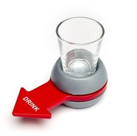 Wholesale plastic toy glasses - Spin The Shot Glass Drinking Game Fun Party Gifts,Turntable Toys Drinking Game Shot Glass With Spinning Wheel Bar Games 800