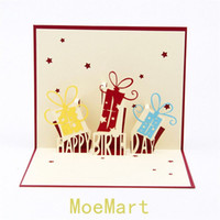 Wholesale Three Dimensional Greeting Cards - Wholesale 10pcs 3D birthday greeting card paper-cut three-dimensional creative custom cards handmade paper sculptures