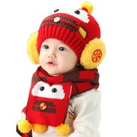 Wholesale Robot Scarf - Kid Girl Beanies Bobbles Hat Set Robot Children Kids Knitted Caps and Scarf Warm 2 Pieces Suit Set MZ2267 Free Shipping