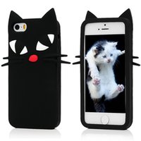 Wholesale Cats Abs - New arrival Phone cases For iPhone 7 Cute Cartoon 3D black cat Cases Soft Silicone Back Cover Shell for iPhone 5S 5E 6S 7 plus free shipping