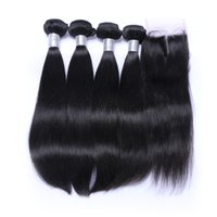 Wholesale Virgin Remy Closure Weave Straight - Peruvian Straight Hair Weaves Bundles with Closure Free Middle 3 Part 7A Quality Double Weft Human Hair Extensions Dyeable Remy Virgin Hair