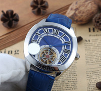 Wholesale Driving Belts - Selected Store luxury brand watches men blue dial blue leather belt watch tourbillon Drive de automatic see through watch mens watches