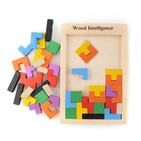 Wholesale Wooden Blocks Free Shipping - Early Education colorful Wooden Tangram Brain Tetris Block Intelligence Puzzle parent-child interaction Toys with free shipping