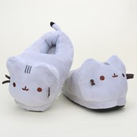 Wholesale Adult Cat Slippers - Wholesale- Japanese Anime Kawaii Soft Cat Plush Shoes Pusheen Cat Slippers plush toys For Adult Christmas Gift