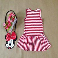 Summer p y - Kids Dress Girl Summer Sleeve Less Mickey Stripe Dress Colors Black Red For Y P L