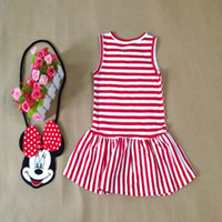 Wholesale Dresses For Less - Kids Dress Girl Summer Sleeve-Less Mickey Stripe Dress 2 Colors Black Red For 1~7 Y 5 P L