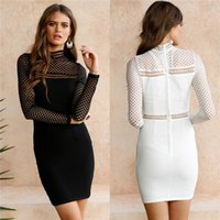 Wholesale sexy lace bow bodycon dress - New Turtleneck hollow out Long Sleeve Midi Sexy Club Bodycon Dress Autumn solid patchwork Women Elastic Elegant Dresses MTL170811
