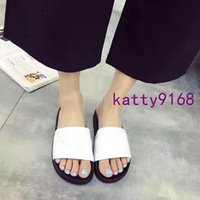Wholesale White Heels Shop - Shop mens and womens logo letter slide sandal , top quality and comfortable embossed leather slide sandals word tow