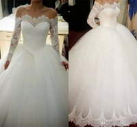 Wholesale Cathedral Wedding Dresses Blue - Off the Shoulder Ball Gown Wedding Dresses Elegant Wedding Gowns Beautiful Long Sleeve Bateau Lace Applique Bridal Dresses