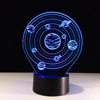 Wholesale Drop Charge - 2017 Planets 3D Optical Illusion Lamp Night Light DC 5V USB Charging AA Battery Wholesale Dropshipping Free Shipping