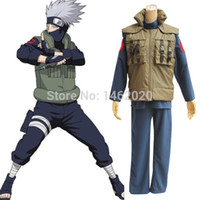 Wholesale Leaf Man Costumes - Anime Naruto Hatake Kakashi Unisex Cosplay Costume Leaf Village Konoha Jounin Uniform Shippuden Ninja Vest Warmth Daily clothing