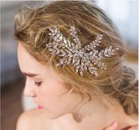 accesorios para el cabello clips de diamantes al por mayor-Boda nupcial Clip de pelo hecho a mano cristalino con cuentas piezas de cabeza accesorios SL3