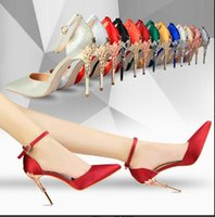 Wholesale More Fine - 2017women sexy summer word buckle hollow out fine with pointed baotou set auger diamond ultra high heels more colors High-heeled sandals