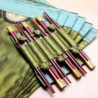 Wholesale Chinese Bamboo Chopsticks - Wholesale Exquisite Asian 6 Green Table Cloth Placemats Napkins 6 Pairs Bamboo Chopsticks Set Chinese Characteristics Gift