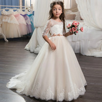 Wholesale yellow shorts size 5t girls for sale - Group buy 2020 Beautiful Champagne Lace Flower Girl Dress with Sleeves Lace Train Kids Corset Ball Gown Prom Dress for Girls Size