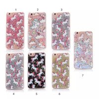 Wholesale Iphone 5s Bling Apple Cases - Bling Liquid Glitter Quicksand Star Case Unique Cute Unicorn phone Back Cover For iphone 5 5s 6 6S 7 8Plus S6 S7 edge