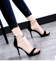 Wholesale Sexy Heel Shoes Wholesale - 2017 summer new black fine with open toe sandals wild high heels sexy shoes wave