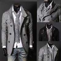 Wholesale British Men Coat Wool - New British Style Winter Wool Blend Coat Men Outwear Slim Fit Double breasted Men Overcoat Casual Trench free shipping