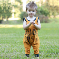 Wholesale Tutu Cute Letters - 2017 Cute Baby Clothing Romper Sleeveless Cotton Letters Printed Jumpsuits Boys One-piece Infant Kids Rompers Yellow 70 80 90 100 A7154