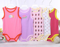 Wholesale Boys Suit Size Red - Baby Rompers Suit Summer Infant Triangle Romper Onesies 100% cotton Sleeveless babies clothes boy girl pure white full sizes