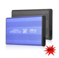 sabit disk kutuları toptan satış-Mavi / Siyah Süper Hızlı USB 3.0 HDD Sabit Disk Harici Muhafaza 2.5 Inç SATA HDD Durumda Kutusu Mobil Disk 2.5 '' HD USB3.0
