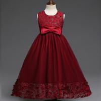 4e09f9328 NUEVOS niños niñas elegante vestido largo vestido de boda vestidos de dama  de honor vestidos de flores de encaje de niña fiesta de Navidad vino rojo  ...