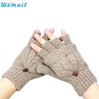 Wholesale Delicate Fingerless Gloves - Wholesale- WOMAIL delicate tactical gloves gloves women autumn winter autumn Women Warmer Winter Fingerless Gloves W7