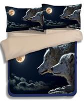 Wholesale Wolf Comforter Full - Wolf, lion,tiger, leopard 3 4pcs 3D Animal Print Bedding Sets Queen King Twin Full Size Duvet Cover Bedsheet Pillowcase Bedroom Textiles Set