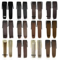 Wholesale inches g Women Long Straight Synthetic Hair Ponytail Ribbon Pony Tail Extensions Pieces Colors Black Blonde Brown