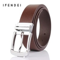 Wholesale Wholesale Men S Designer Belts - Wholesale- IFENDEI Belt Men 's Brand Luxury Leather Belt Silver Buckle Strap Business Casual Double - sided Genuine Leather Designer Belts