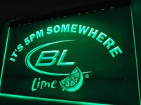 LA679- Son las 5 pm En algún lugar Bud Lite Lime LED Neon Light Sign