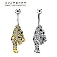 Wholesale Piercing Leopard - Leopard Animal Rhinestone Piercing Belly Button Rings Navel for Women Fashion Neoglory Body Beach Jewelry 2017 New Brand