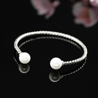 Wholesale Double Pearl Bracelets - Fashion Bangles Double Big Pearls Bracelets For Women 925 Sterling Silver Bracelets Open Adjustable Cuff Bangles Bracelets