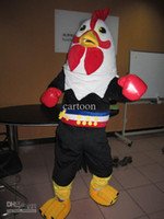 Wholesale Box Mascot Costumes - high quality Real Pictures Deluxe Boxing cock chicken mascot costume Adult Size factory direct free shipping