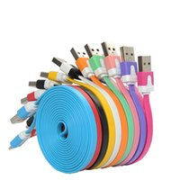 Wholesale S Line Lg - Noodle Flat Micro Usb Cable V8 charger Charging Cables for Samsung Phone 5 s 6 Data Cables Sync Cord Line With Retail Bags