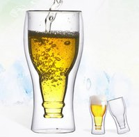 Wholesale Art Tea Cup - 350ml Double Wall Glass Cup Water Tea Drinking Mug Bar Supplies Cups Double-deck Whiskey Vodka Wine Glasses Cup KKA3013