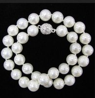 FREE SHIPPING nova Noble jóia fina jóia AAA 10 milímetros genuína White South Sea Shell Pearl Necklace 18 ''