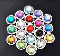 Wholesale button drill for sale - Group buy Acrylic Purse Buckle Circular Diamonds Buttons Hanging Bag Buckles For Girls Foldable Crystal Drill Button Originality Handbag Hook cy D