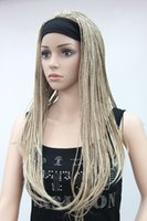 Wholesale Wig Flaxen - High quality Fashion flaxen with blonde 3 4 wig with headbands straight long braid half Braids Women's wig