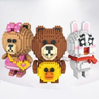 Wholesale Diamonds Bunny - Magic Video Action Figures Brown Bear Little Bunny Diamond Building Blocks Anti Autism and ADHD Time Killer Stress Reliever Toys