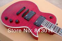 Wholesale Ec Guitar - Custom Shop LTD EC 1000 Qulit Maple Top Red Electric Guitar Abalone Body Binding & Fingerboard Inlay EMG Pickups Black Hardware