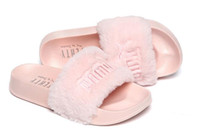 Wholesale Fashion Fur Fabric - Brand New Rihanna Fenty Leadcat Fur Slides - Pink, Black, White Slide Sandal Womens Slippers retail
