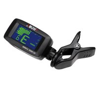 Wholesale Portable Bass Guitar - Portable Aroma AT-200D Clip-on Electric Tuner 3 Colors Backlit Screen for Guitar Chromatic Bass Ukulele Universal