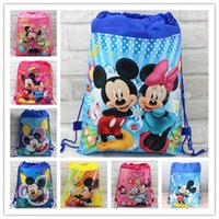 Wholesale Baby Party Bags - Wholesale- Free shipping 24pcs lot baby mickey minnie mouse Drawstring plush Bag school plush bags,mickey mosue Backpacks party gifts