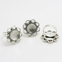 Wholesale Basis Rings - 10set Antique silver Alloy Adjustable Ring Bases Blanks Fit 14mm Round Cabochon Rings Settings + Clear Cabochons Glass J2027-1