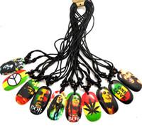 joyería de bob al por mayor-HOT Bob Marley colgante collares al por mayor de joyería de los hombres Lot uno amor peave hoja ... 10 estilos Top Mix